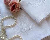 Two Linen Towels, Embroidered, French Linen, Shabby Cottage, French Country, Guest Towels, Embroidered, by mailordervintage one tsy
