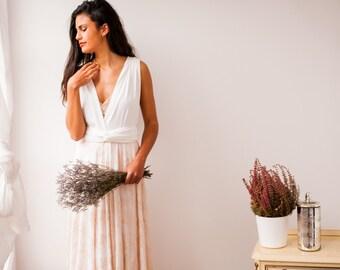 Rustic Wedding Dress Rose Quartz Gold Lace Gown