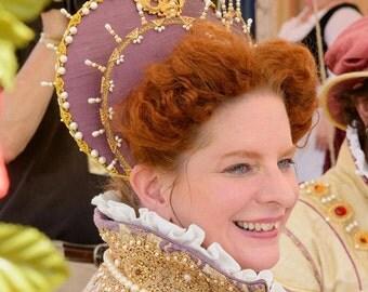 Elizabethan Heart Shaped Attifet, Headdress, Renaissance - Custom Made to Order