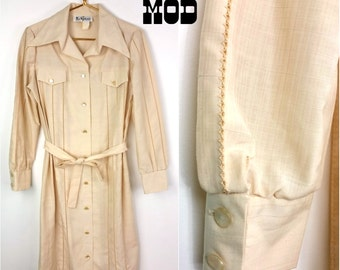Chill Vintage 70s Boho Cream Shirt Dress with Crochet Style Cutouts and Pointy Collar!