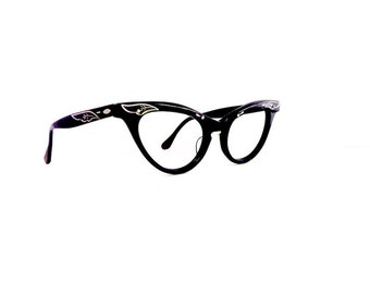 50s Cat Eye Eyeglasses Frames Women's Vintage 1950's Black with Two Tone Arms with Engraving Key Hole Frames #M455 DIVINE (EB)