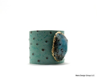 "leather cuff bracelet  - turquoise ostrich embossed leather with agate - 2"" wide"