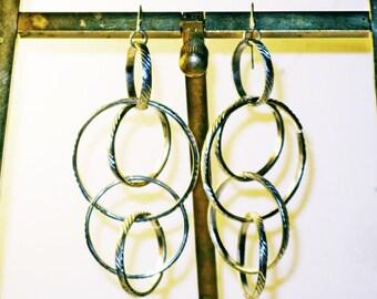Vintage Very Long 1980s Silver Tone Pierced Dangling Hoop Earrings (E-2-2)