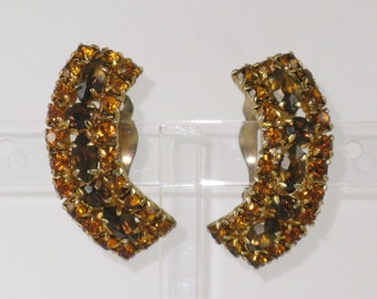 Vintage Amber Rhinestone Earrings  (E-2-4)