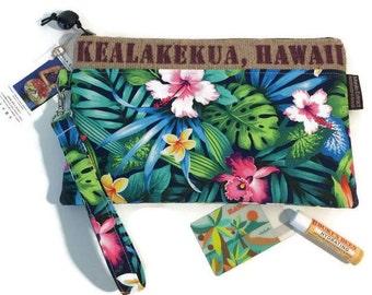 Aloha Wristlet. Repurposed Kona Coffee Bag. Multi Compartment, Credit Card Holders & Zipper Pocket. Kealakekua, Hawaii. Handmade in Hawaii.