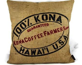 MTO. Kona Coffee Burlap Pillow Cover. Repurposed Kona Coffee Farmers Association Bag. 18x18 Pillow Cover. Handmade in Hawaii.