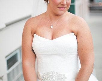 Pamela - CZ Stone Necklace, Bridal Necklace, Wedding, Bridesmaid necklace, bridesmaid jewelry, Clear White Large Cubic Zirconia Crystal
