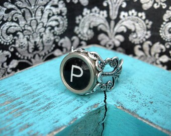 Typewriter Key Ring - Typewriter Key Jewelry - Initial P Ring - Antique Typewriter Key Adjustable Ring - Initial Ring