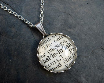 Dictionary Necklace - Halleluiah - Round Pendant