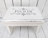Paris Step Stool, Old Milking Stool, Vintage Stool, White Stool Decor, Paris Flea Market, French Cottage, Rustic Farmhouse, Shabby and Chic