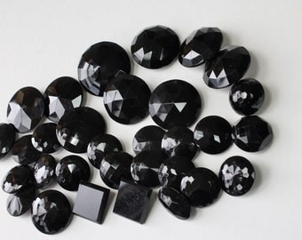Vintage Faceted Black Glass Button Lot Mixed Sizes Antique Black Glass Brass Shank Clothing Buttons Coat Buttons Sewing Supply