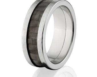 Carbon Fiber Inlay Ring 8mm Wide w/Cross Brush Finish: CF-8MM TI XB