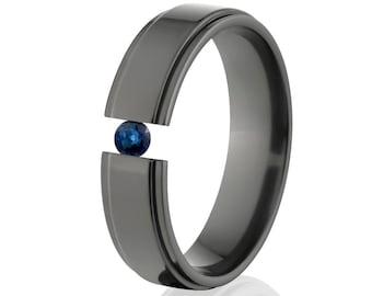 Tension Set Ring, Uniquely You, Black Zirconium, Sapphire -  BZ-6RC-P-Tension