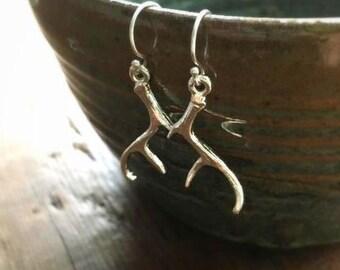 Antler Earrings, Deer Earrings, Dangle Earring, Vintage Style Earrings, Drop Earrings