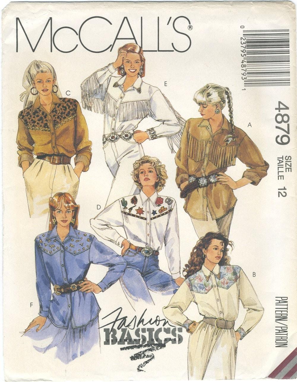Western shirt sewing pattern size 12 mccalls 4879 uncut loose sold by stripedkat jeuxipadfo Images