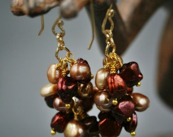 Clusters of Pearls Earrings in Red, Cream, Rose, and Beige with 14K Gold Fill ear wires
