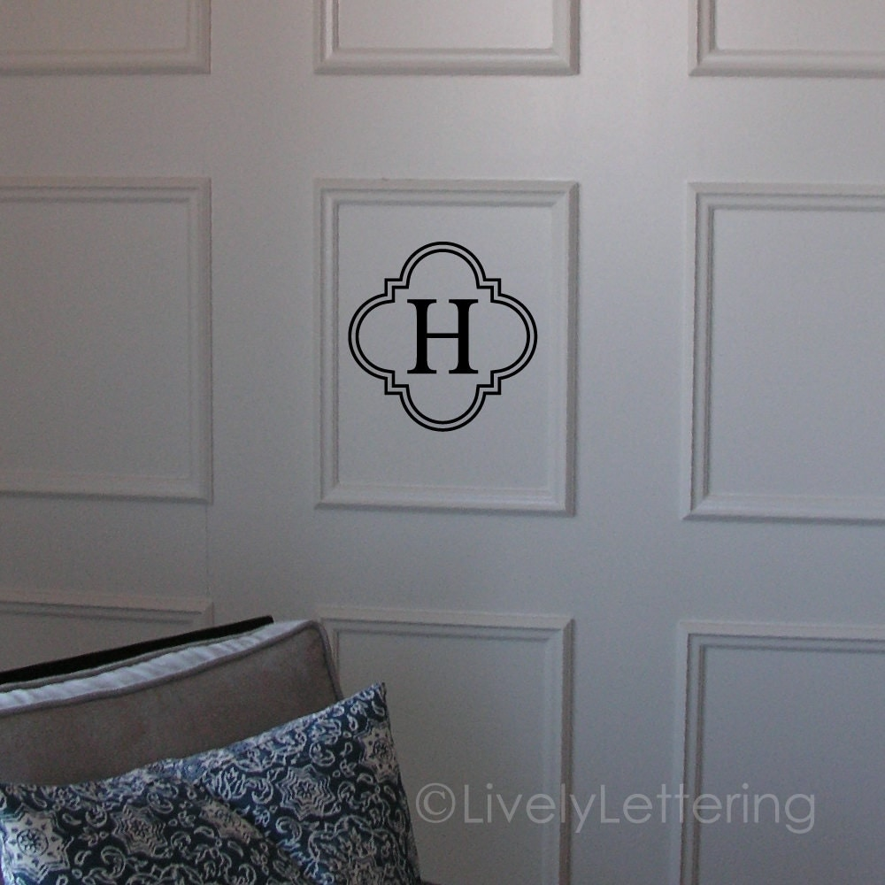 initial decal letter wall decal single letter in quatrefoil zoom