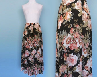 90s Floral Silk Button Front Maxi Skirt Lightweight High Waist Semi Sheer