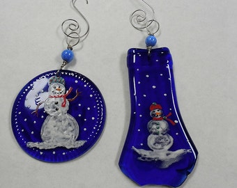 Recycled Wine bottle bottom and top Christmas ornament / suncatcher