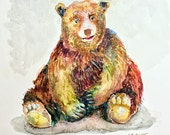 Day 25 - Signed Print - Daily Watercolor - Bear Painting  -  One of 366 days of watercolor paintings and/or ink drawings