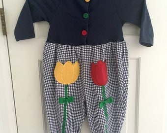 Vintage Jumpsuit. Buster Brown. Flowered Vintage Jumper. 18 Months. 1980s Fashion. Vintage Toddler Clothes. Flowers, Tulips. Checkered.