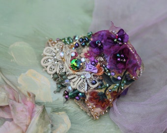 Violets, romantic bold cuff with antique laces, bohemian wrist wrap,beading and crystals