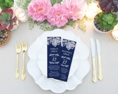 DIY Photo Booth Card, MS Word Template, Editable Place Cards, Navy Blue Wedding Photo Booth Insert, Vintage Lace Printable, Escort Card