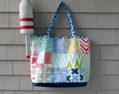 Two in one Tote, linen tote, geometric tote, preppy tote, beach tote, travel tote, patchwork tote in Quadrille and Robert Allen fabrics