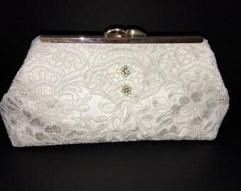 Lace clutch, ivory clutch, off white clutch, wedding clutch, formal clutch, bridal clutch, evening bag with 2 rhinestone pins, one of a kind
