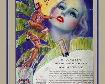 vintage art deco advertisement tattoo your lips pinup flapper girl and hawaiian hula dancers illustration digital download