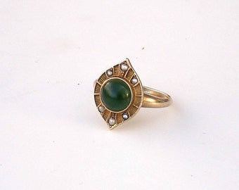 Art Deco 10k Gold Ring ~ Seed Pearls & Jade: Size 6.75