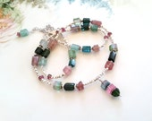 Multi Color Bi Color Tourmaline Crystal Nugget Necklace OOAK Afghanistan Tourmaline Necklace