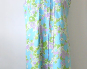 Vintage Cotton Summer Day Dress • Large Vintage Summer Floral Shift • 1960s Sleeveless Dress Aqua Purple