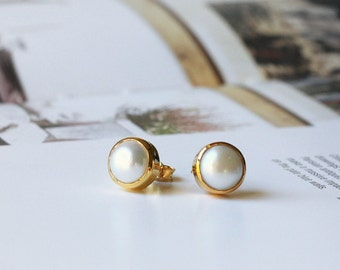 Pearl Bezel Set Stud Post Earrings....LIMITED EDITION