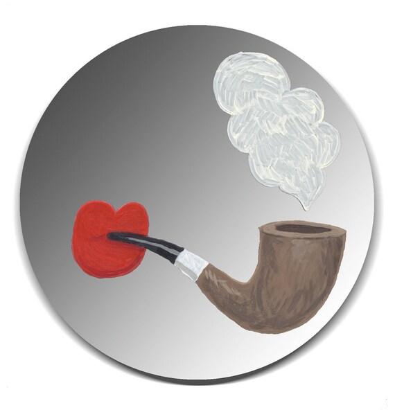 Handpainted mirror - Red Lips Smoking Pipe