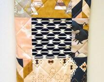 Southwestern Tribal Baby Quilt-Baby Girl Bedding-TeePee-Arrows-Navy-Gray-Mustard-Peach-Pink-Indian-Buffalo-Buck-Aztec Baby Blanket