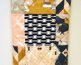 Southwestern Tribal Baby Quilt-Baby Girl Bedding-TeePee-Arrows-Navy-Gray-Mustard-Peach-Pink-Indian-Buffalo-Buck-Aztec Baby Blanket