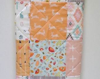 Girl Baby Quilt-Woodland Tribal Aztec Garden-Arrows-Mint-Peach-Gray-Bear-Bunny Rabbit-Hedgehog-Butterfly-Honey Bee-Lady Bug Baby Blanket Bed