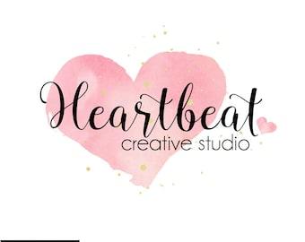 Watercolor Heart Logo -  Name Logo, Heart Logo, Premade Logo, Watercolor Logo, Custom Logo,  Artist Logo, Photographer Logo