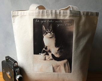 Vintage Cat Photograph - High Quality Image Transfer on a Canvas Tote Bag - Natural Carryall Shopping Bag - Cat Lover Gift - Canvas Bag