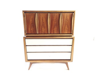 Vintage Mid Century Highboy In Wood and White