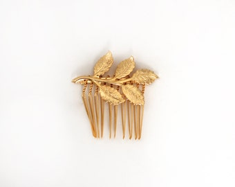 Five Leaf Comb, Gold Leaf Comb, Romantic Hair Jewelry, Bridal Hair Accessory, Bridesmaid Accessories, Gift for Girlfriend, Rustic Woodland