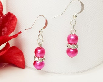 Azalea Pink Pearl Earrings - Traditional Bridesmaid Earrings - 6mm Rondelle Rhinestone Flower Girl Earrings