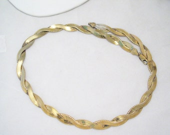 18in Vintage gold plate sterling silver weave woven basket fishbone herringbone twist link Designer Milor Italian made chain necklace collar