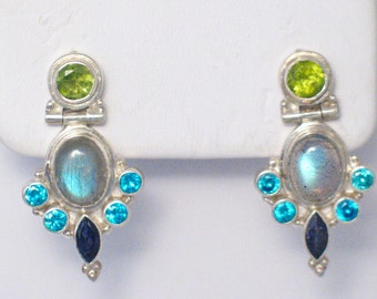 gemstone earrings pendant labradorite peridot amethyst and swiss blue topaz dangle set suite jewelry 925 sterling silver great fire Gift