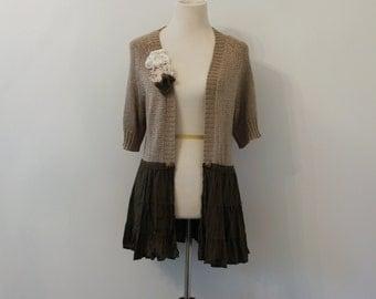 Shabby Shimmer Loose Cardigan, Free People Inspired, Boho, Tattered, Ruffled, Romantic Sweater, Eco Friendly, Upcycled Clothing Size Med/LG