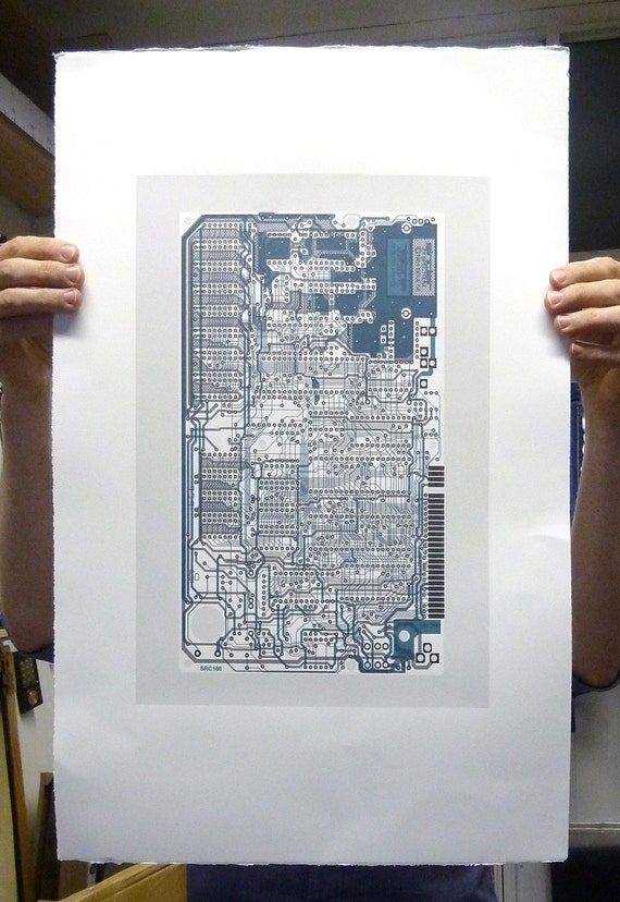 Sinclair ZX Spectrum (Speccy) screen print blue grey midnight art silkscreen circuit portrait retro computing