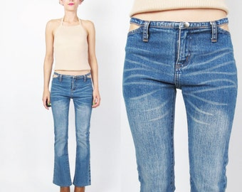 90s 2000s Cut Out Hip Flared Jeans Petite Wrangler Jeans Paris Hilton Whiskered Medium Wash Denim Skinny Jeans Boot Leg Cut Club Kid (XS)