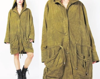 90s Vintage GIANNI VERSACE Leather Jacket Lambskin Soft Suede Leather Parka Hooded Leather Coat Olive Army Green Slouchy Oversized (M/L)