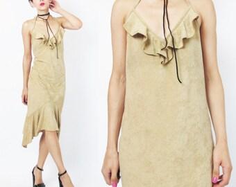 90s Tan Halter Dress Faux Suede Ruffle Dress Pocahontas Dress Open Back Backless Dress Sexy Dance Clubwear Asymmetrical Hem Dress (S/M)